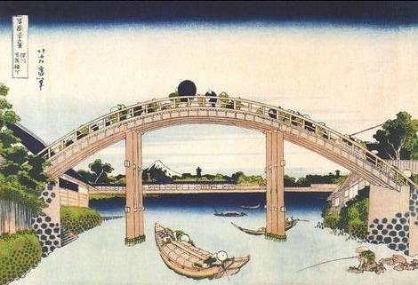 Scene under Mannenbashi at Fukagawa Katsushika Hokusai
